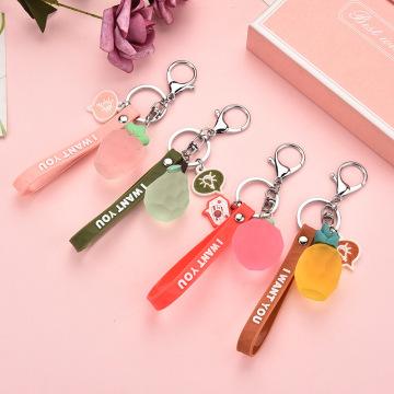 2020 Fashion Summer Fruit Keychain apple Ananas comosus Pear Strawberry Keyring Fresh Fruit Pendant Cute Fruit PVC Key Chains