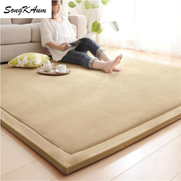 SongKAum Japanese-style Thicken Coral fleece Large Carpets Solid simple Tatami customizable Mats Bedroom Home Lving Room Rug