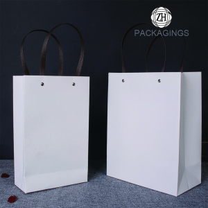 White Paper Shopping Bags with Handle