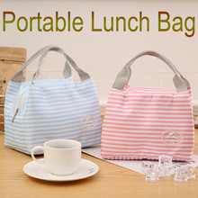 Lunch bag 2019TOP Insulated Cold Canvas Stripe Picnic Carry Case Thermal Portable Lunch Bag G90625