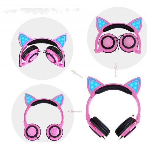 Lighting factory cat ear wired earphone for kids
