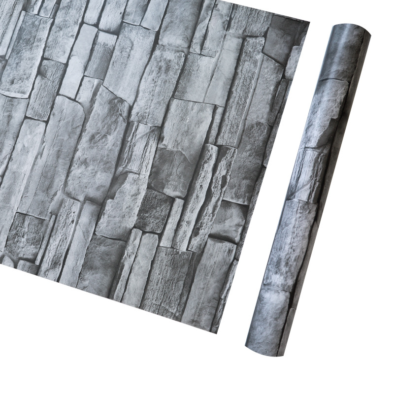 PVC Waterproof 3d Gray Brick Self Adhesive Wallpaper For Restaurant Salon Clothing Store Vintage Stone Wall Stickers 3D Behang