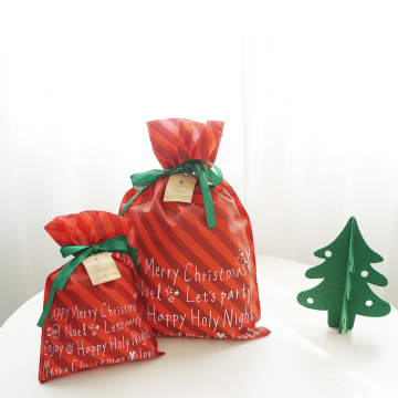 Red Strip Christmas Non Woven Bags Labels Printable