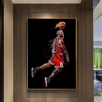 Abstract Art Painting Poster Flying Slam Dunk Basketball Wall Picture Decorate Living Room Bedroom Sports Canvas