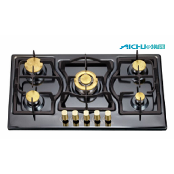 Built-in 5 Burners Black S.S Brushed Gas Hob
