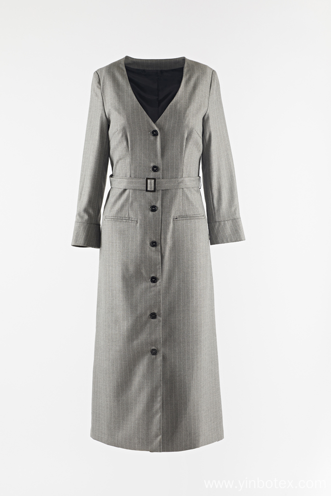 Ladies long  grey stripe dust coat