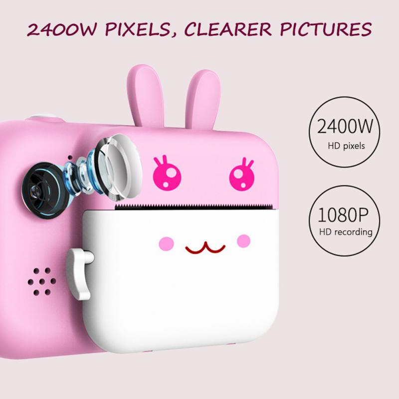 LCD Display 1080P HD Front Rear 2.4inch Large Screen Photography Gift Mini Photo Printer Face Recognition Kids Camera Waterproof