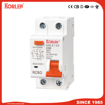1p+N Mini RCBO 10mA/30mA RCCB with Overload Protection