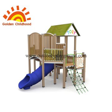 Wooden Backyard Playground Playhouse With Tube For Sale
