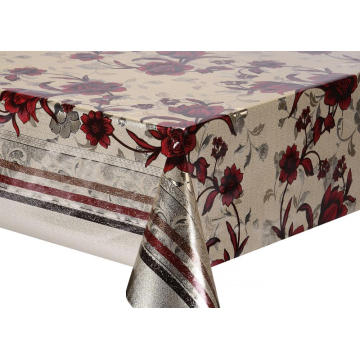 Double Face Emboss printed Gold Silver Tablecloth Dallas