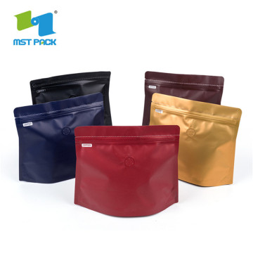 Square flat Bottom zipper Plastic Bag For Coffee pouch Packaging bag With Valve