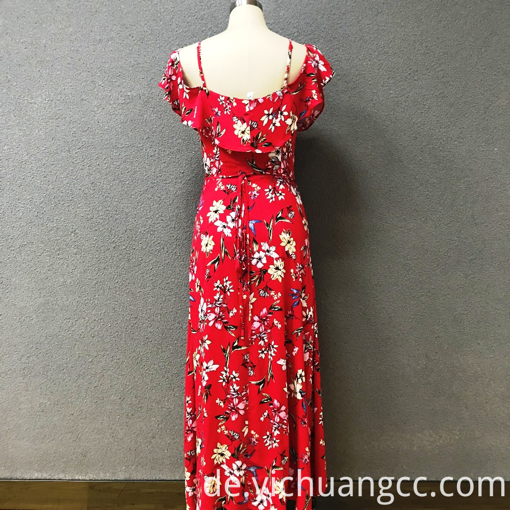 Women's polyester red printed long dress