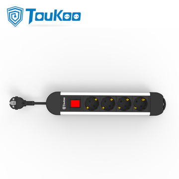 4 way Germany electrical power strip grounded