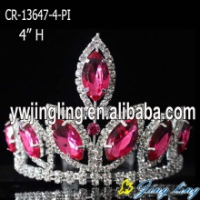 "4"" Pink  Mini Rhinestone Pageant Crowns"