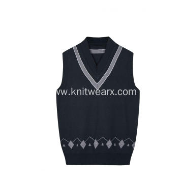 Boy's Knitted Cable Contrast Stripe Neck School Vest