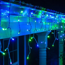 Blue and Green Outdoor Icicle Christmas Lights