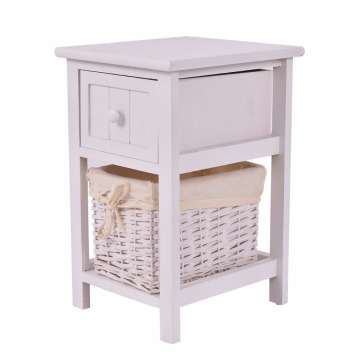 Night Stand 2 Layer 1 Drawer Bedside End Table Organizer Bedroom Wood with Basket1