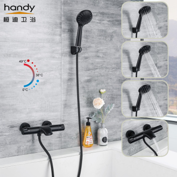 All-match Black Thermostatic Shower Simple Suits