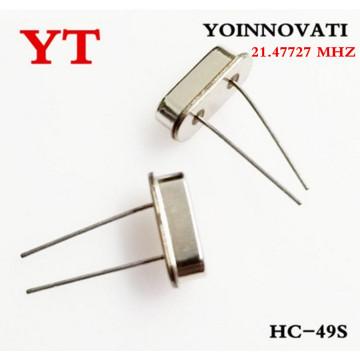 100pcs/lot 21.47727 MHZ HC - 49 s passive crystals into 21.4772 MHZ to 21.477 MHZ 20 parts per million (PPM)