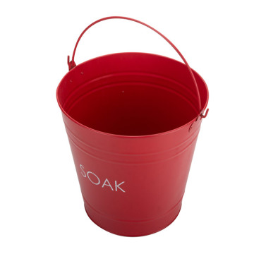 Red Metal Water Bucket