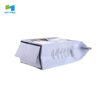 self stand flat bottom aluminum foil plastic coffee bags with tintie
