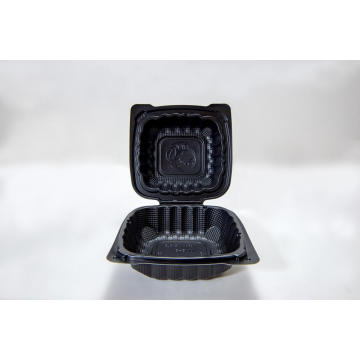 Black Hinged Disposable Plastic Food Containers