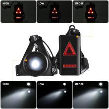 Running Lights LED Night Outdoor Camping Flashlight Warning Light USB Charge Chest Lamp Bicycle Cycling Safety Survival Tool
