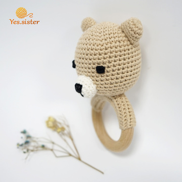 Handmade Baby Crochet Wooden Ring Bear RattleTeething Toys