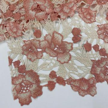 Peach Beige Flower Chemical Lace Embroidery Fabric