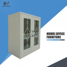 Double door half height steel glass cabinet