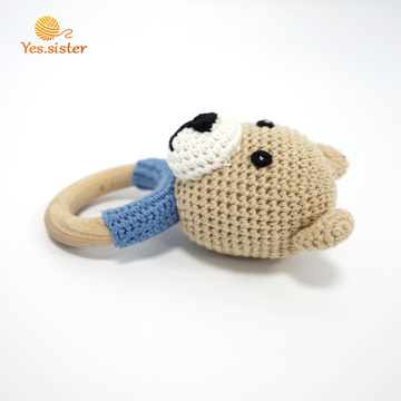 Organic Wooden Ring  Bear Teether Baby Toy