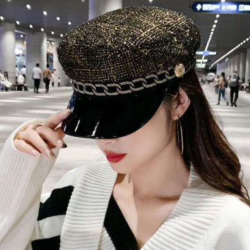 Fashion beret hat with sun visor cap