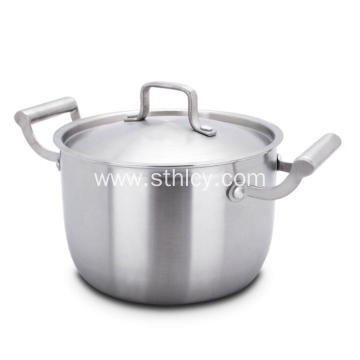 Stainless Steel 2 Handles Saucepan with Lid