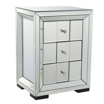 Rectangular mirror cabinet with multiple drawers