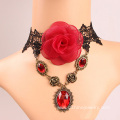 Fashion Lace Red Rose Gemstone Pendant Necklace