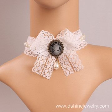 White Lace Bowknot Pearl Pendant Necklace