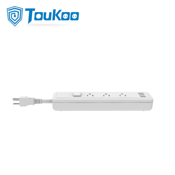American 3-outlet power strip with USB socket