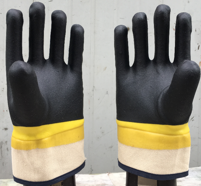Yellow and black PVC Dipped gloves safety cuff