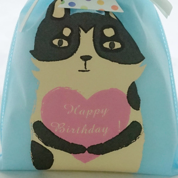 Cat Series Blue Non-woven Drawstring Birthday Gift Bag