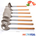 nylon cooking kitchen utensil set with natural wood