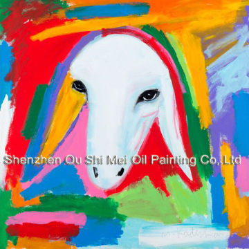 Hand Painted Abstract Animal Oil Painting on Canvas for Lving Room Color Sheep Wall Decor Menashe Kadishman Imitation Painting