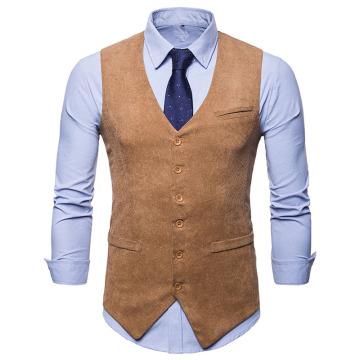 Mens Vest Waistcoat Men's Suit Dress Vest 2020 Brand New Single Breasted Corduroy Vest Men Wedding Tuxedo Vests Gilet Homme XXL