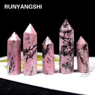 1pc Natural Crystal Point Rhodonite Healing Obelisk Rose Quartz Wand green Ornament for Home Decor Reiki Energy Stone Pyramid