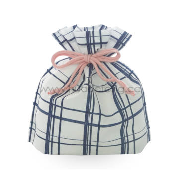 Japanese Blue Big Checkered Pattern Drawstring Gift Bag
