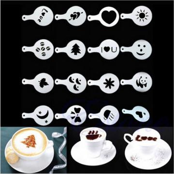 16Pcs/set Fashion Cappuccino Coffee Barista Stencils Template Strew Pad Duster Spray Tools accessories