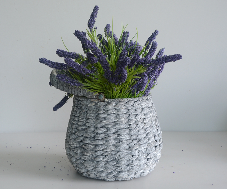 Round drum-like grey water hyacinth flower pot with handle-4