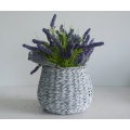 Round drum-shaped gray flower pot with handle