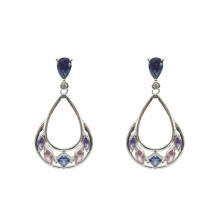 Silver Teardop Earrings with Multicolor CZ