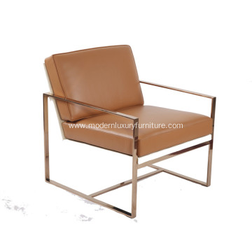 Modern Angles Genuine Leather Lounge Chair