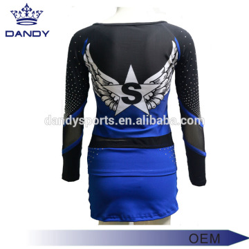 Blue Mesh Sleeve Cheerleading Cheers For Competition
